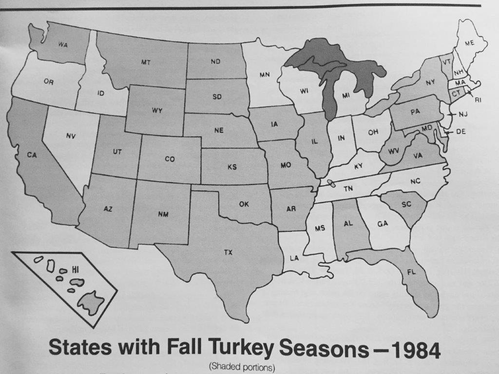 1984 map of fall turkey hunting states