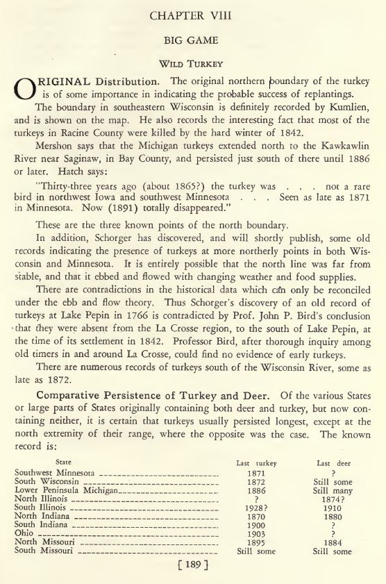 Aldo Leopold on Wild Turkeys 1931