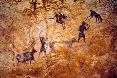 Virginia cave painting of turkey hunter with dog