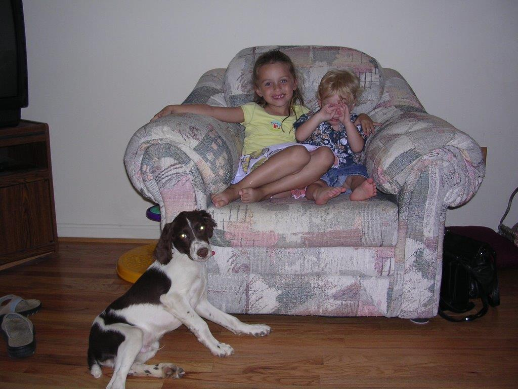 hunting dog with grandchildren