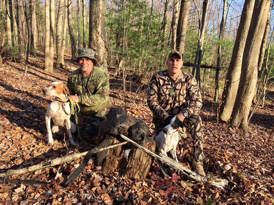 2 Pennslvania turkey dogs with their hunters and birds
