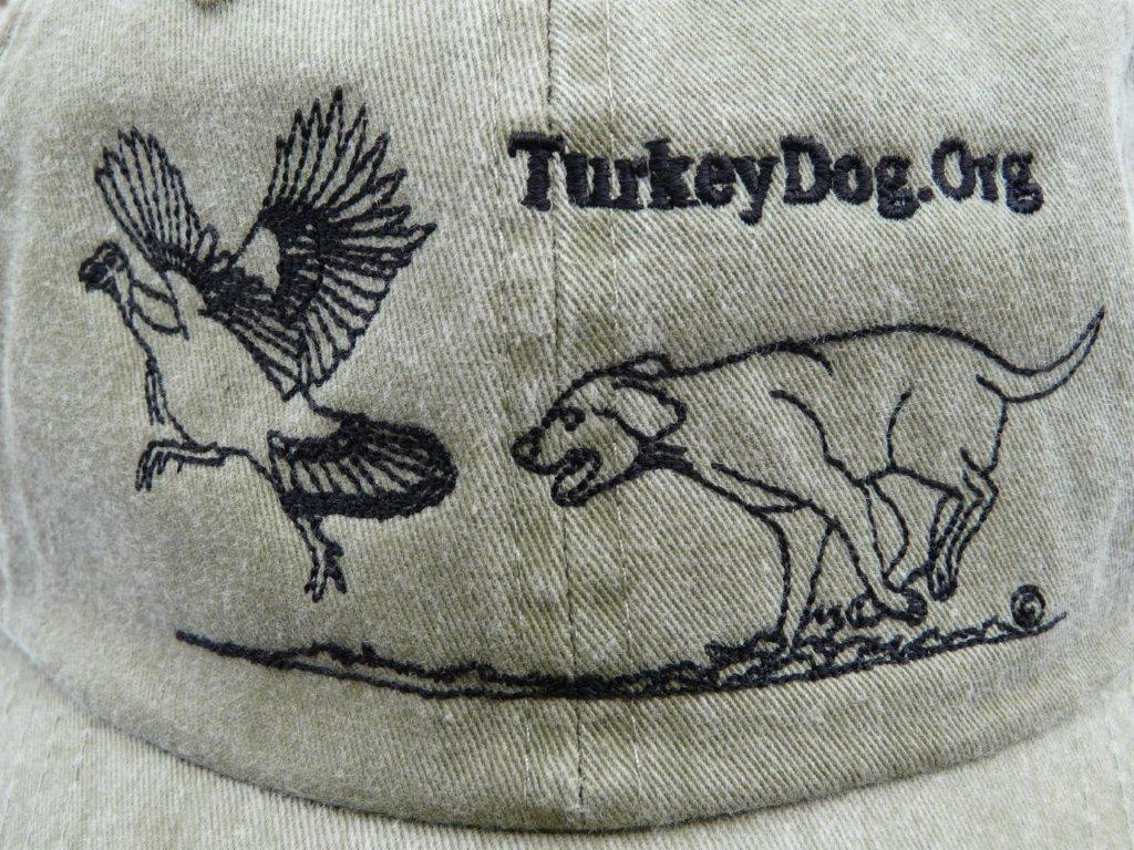 embroidered cap with bird dog