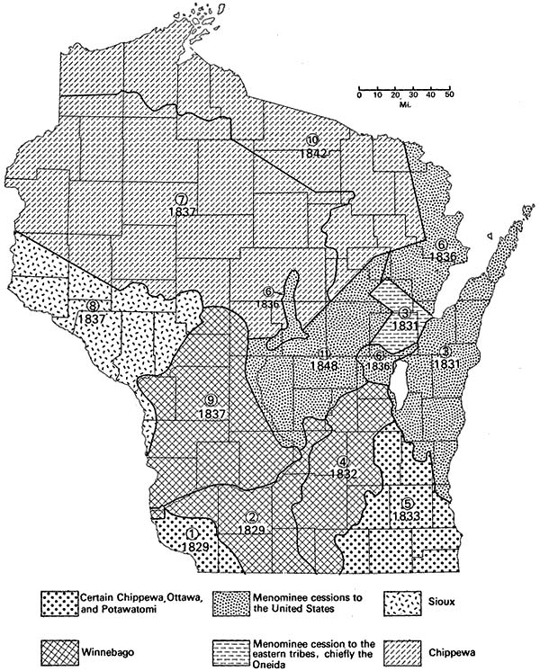 American Indian lands ceded in Wisconsin to