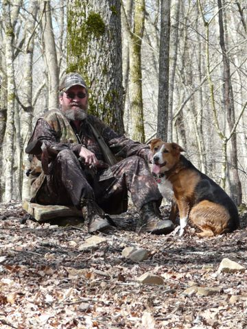 spring turkey in the big south fork with a turkey dog